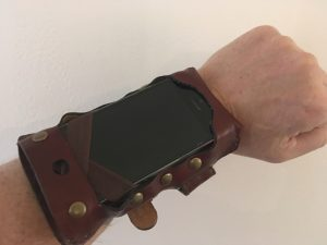 2089's new smartphone the armulet. The phone of the future in Miles Hudson's new novel is worn on the forearm.