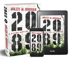 Picture of Miles Hudson's novel 2089 in paperback and ebook formats