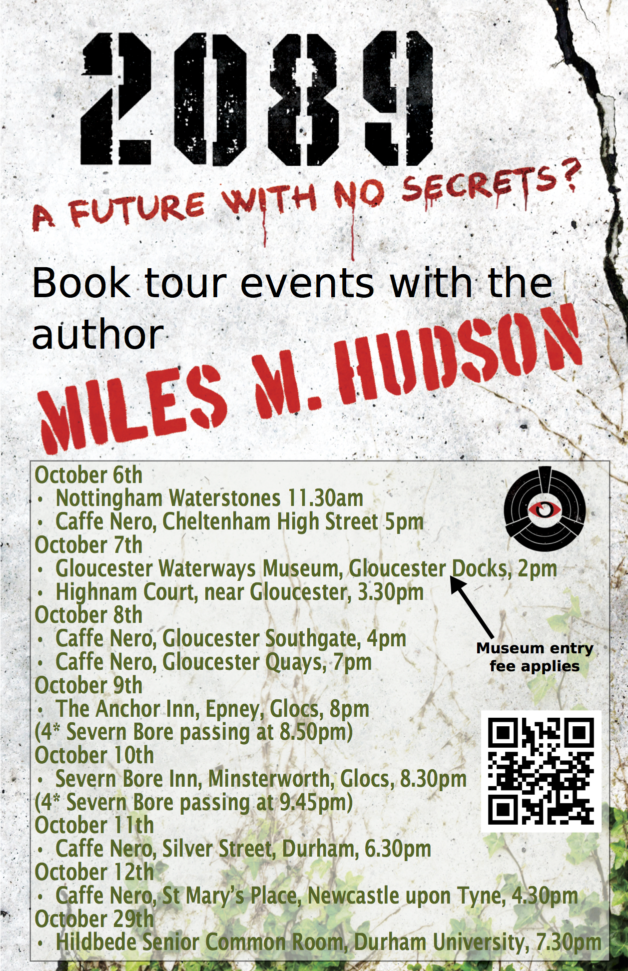 Poster showing list of events on Miles Hudson's book tour for 2089.
