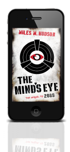 Miles Hudson's novel, The Mind's Eye shown on a phone.