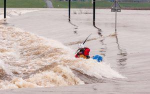 Flood canoeing